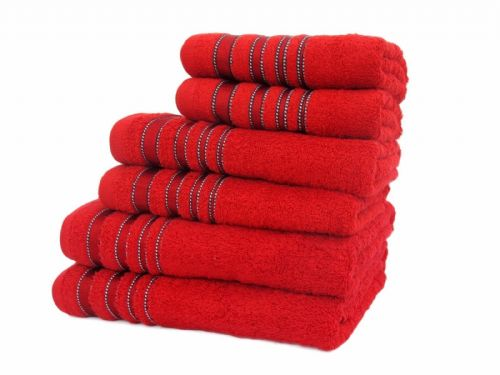 SATIN STRIPE LUXURY RANGE 100% COTTON HOTEL QUALITY TOWELS RED COLOUR